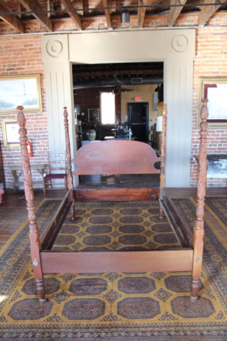 Near Pair Colonial Revival Carved Four Poster Beds - 6