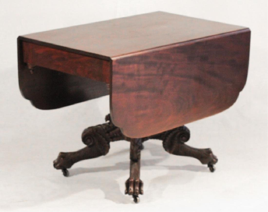 Classical Carved Mahogany Drop Leaf Table