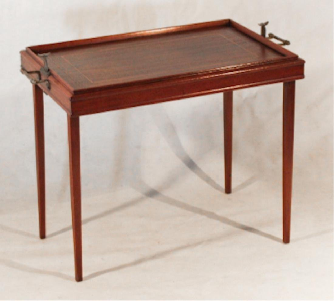 Edwardian Inlaid Mahogany Campaign Butlers Tray