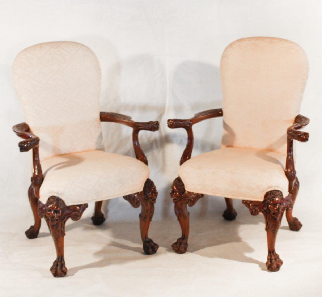 Pair Chippendale Style Carved Mahogany Arm Chairs