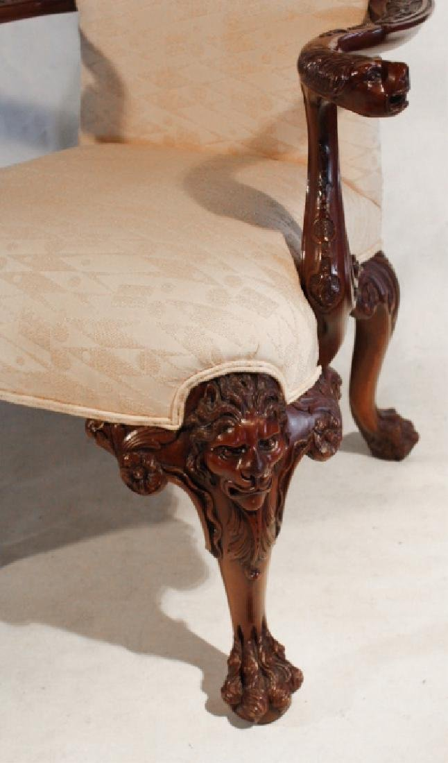Pair Chippendale Style Carved Mahogany Arm Chairs - 4