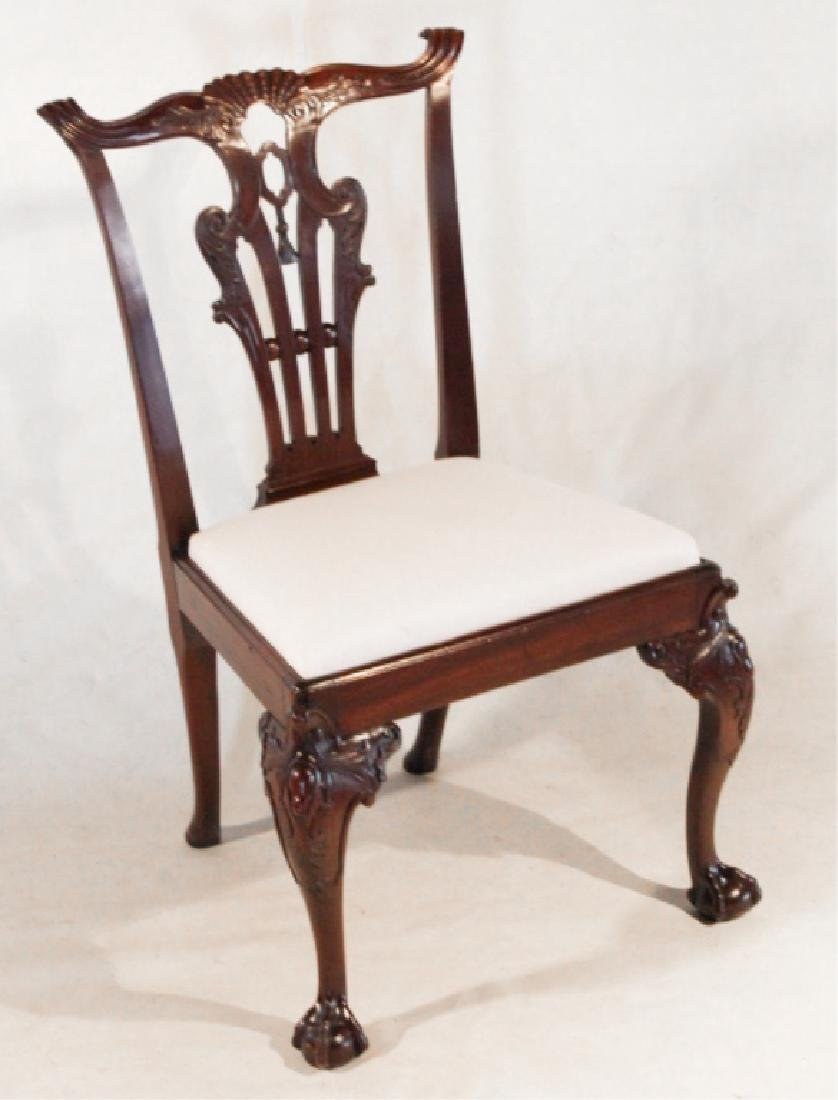 Handsome George III Carved Mahogany Side Chair