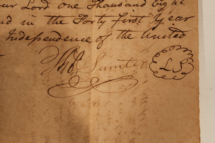 Rare & Important Thomas Sumter Signed Land Deed