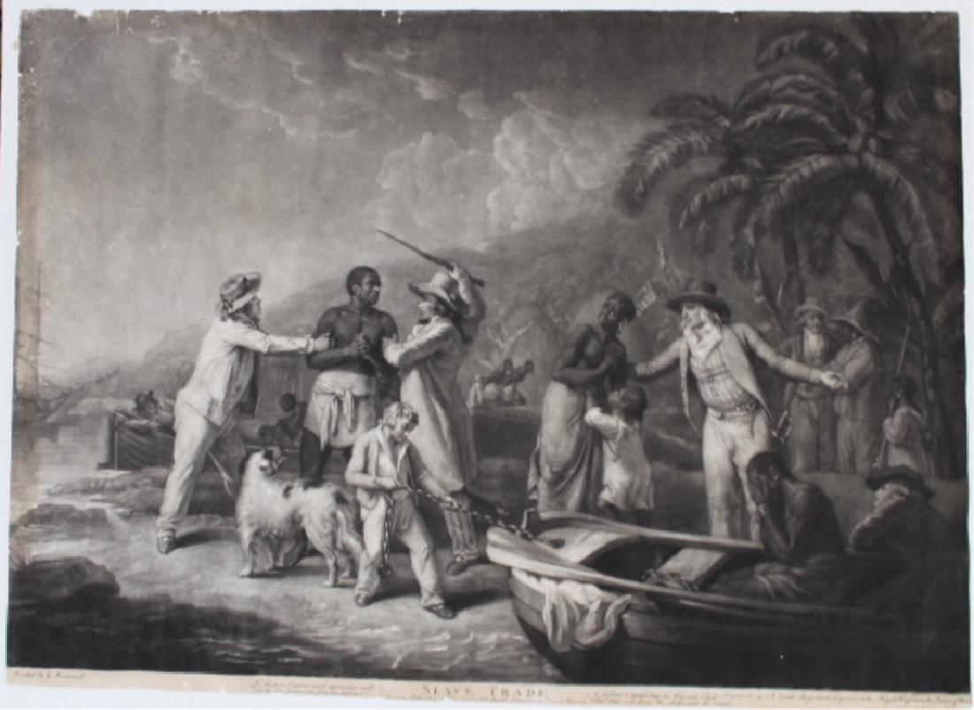 18th Century Mezzotint of Slave Trade