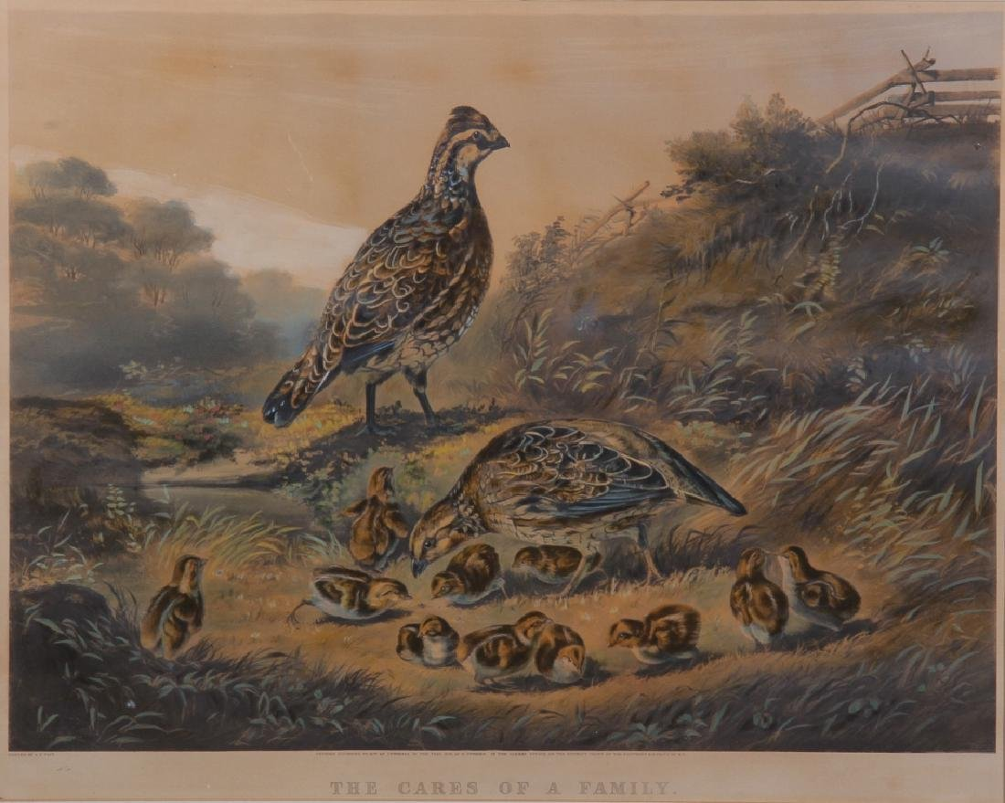 Antique Currier & Ives Hand Colored Print of Quail
