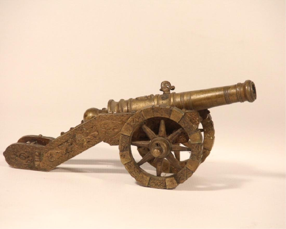Antique Cast Brass Working Signal Cannon