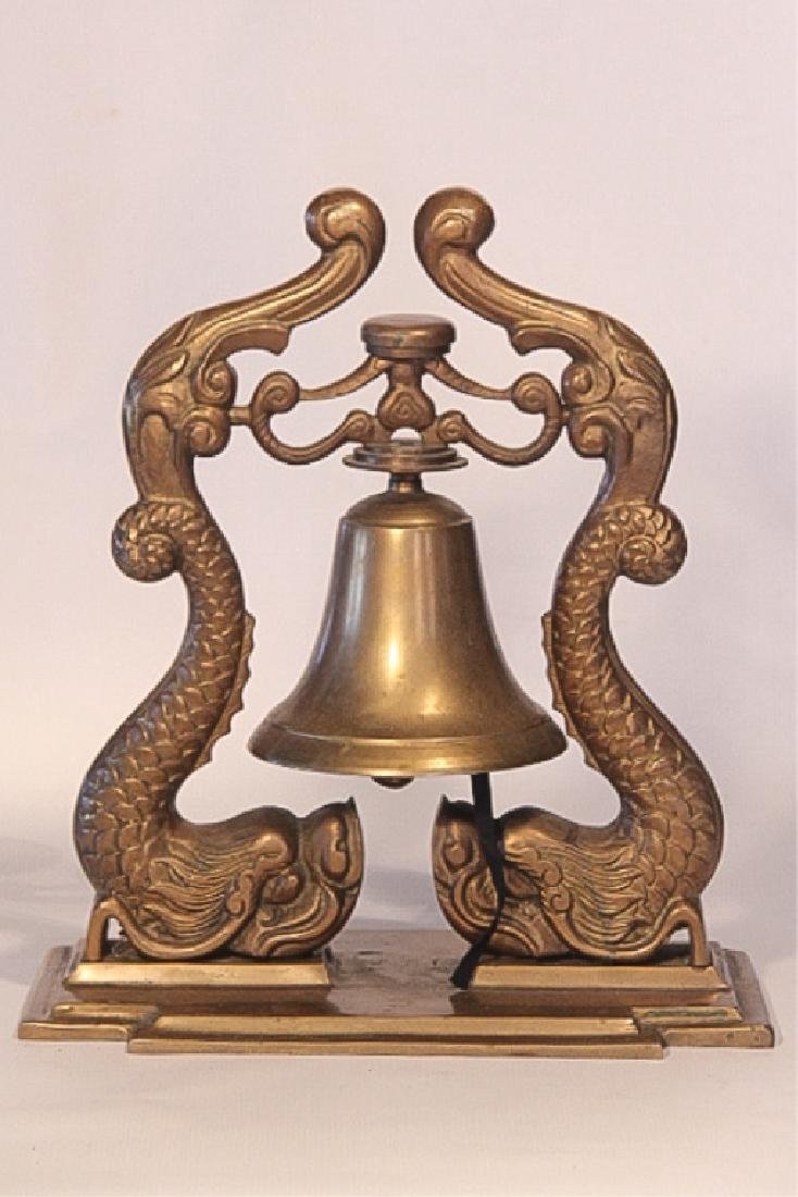 Antique Figural Neoclassical Style Brass Ship Bell