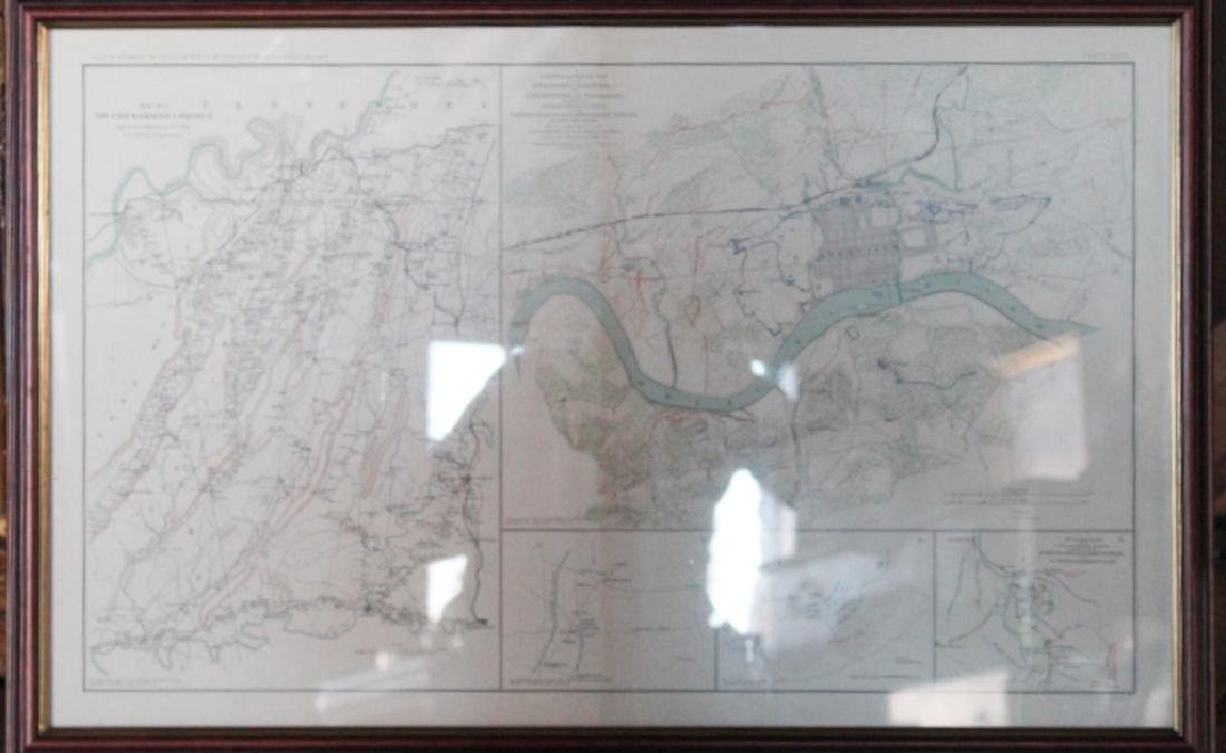 Julius Bien Litho Map Civil War Battle of Chickamauga - 2