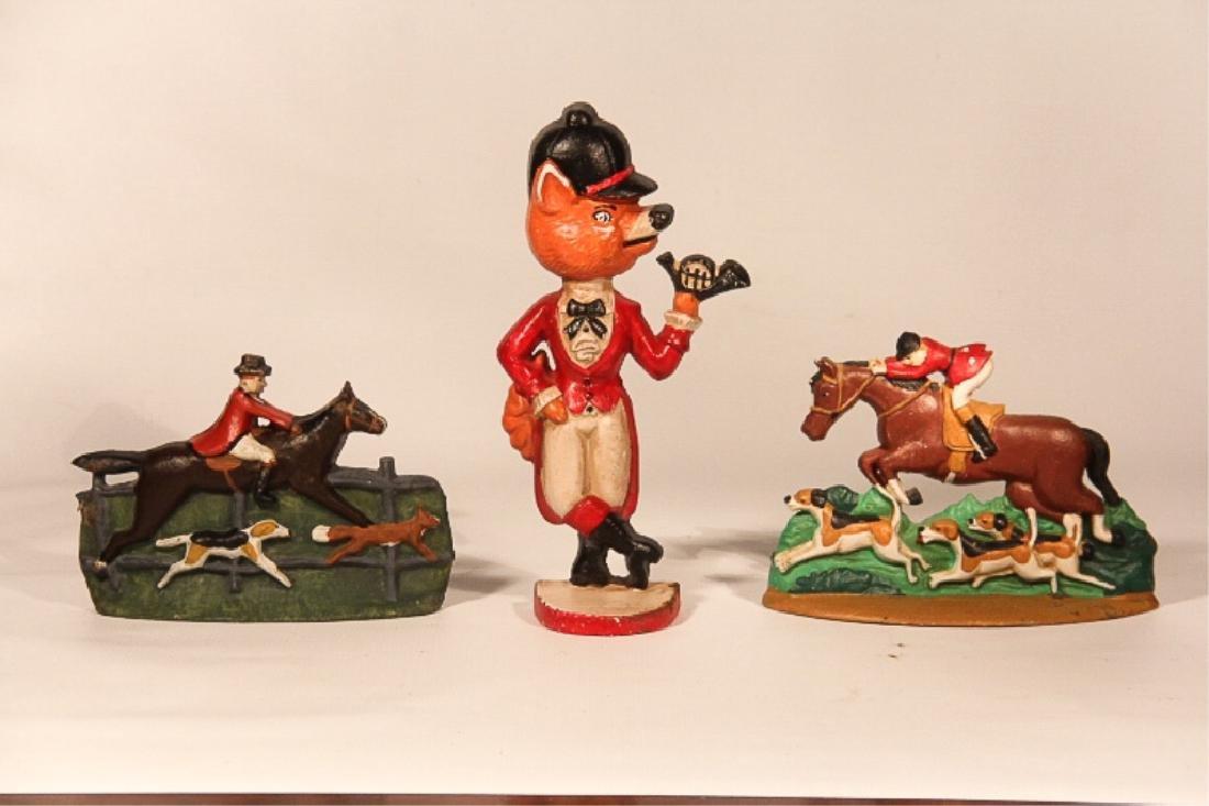 Three Vintage Figural Fox Hunt Doorstops & Bookend