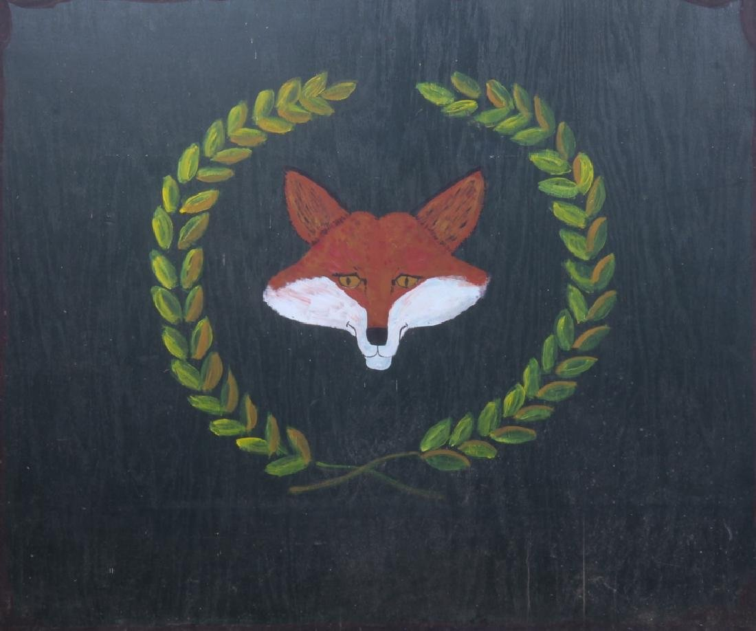Vintage Painted Fox Hunt Fire Back or Tavern Sign