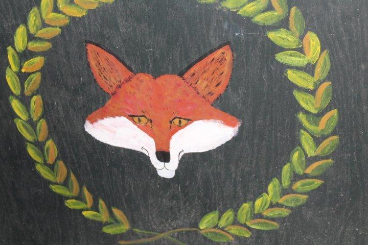 Vintage Painted Fox Hunt Fire Back or Tavern Sign - 3