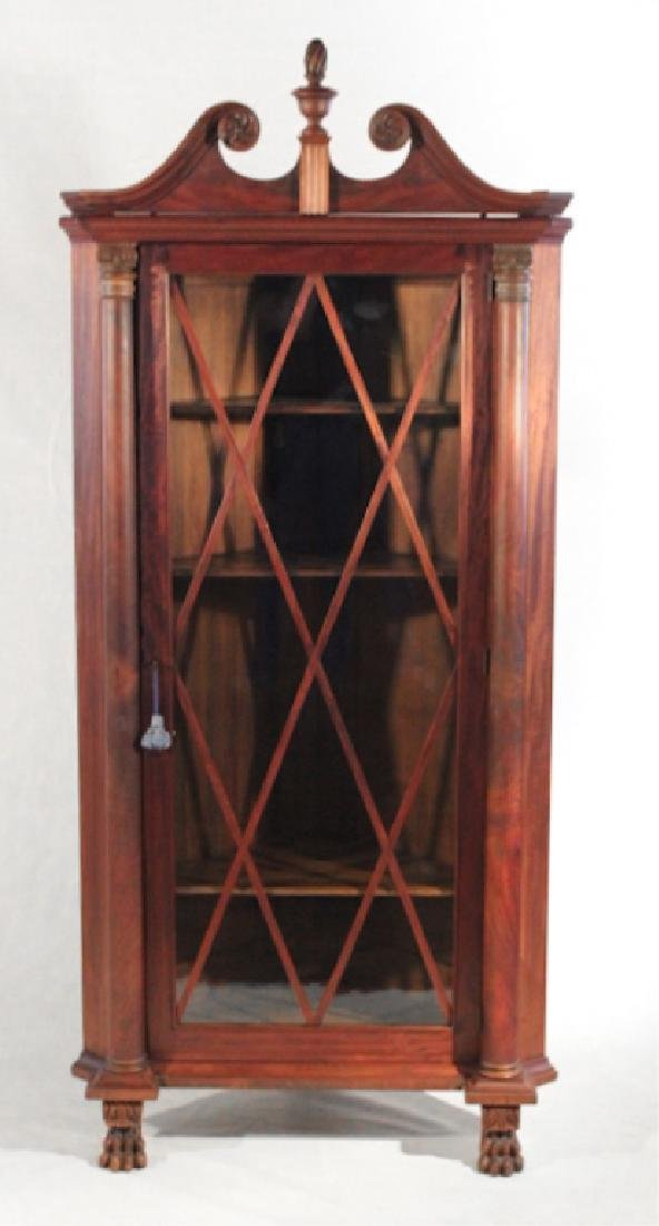 American Empire Mahogany Corner Cabinet
