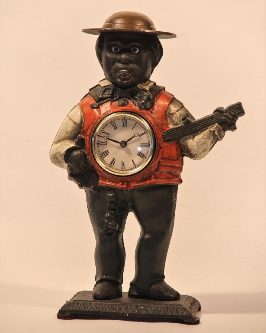 Vintage Cold Painted Cast Iron Automated Clock