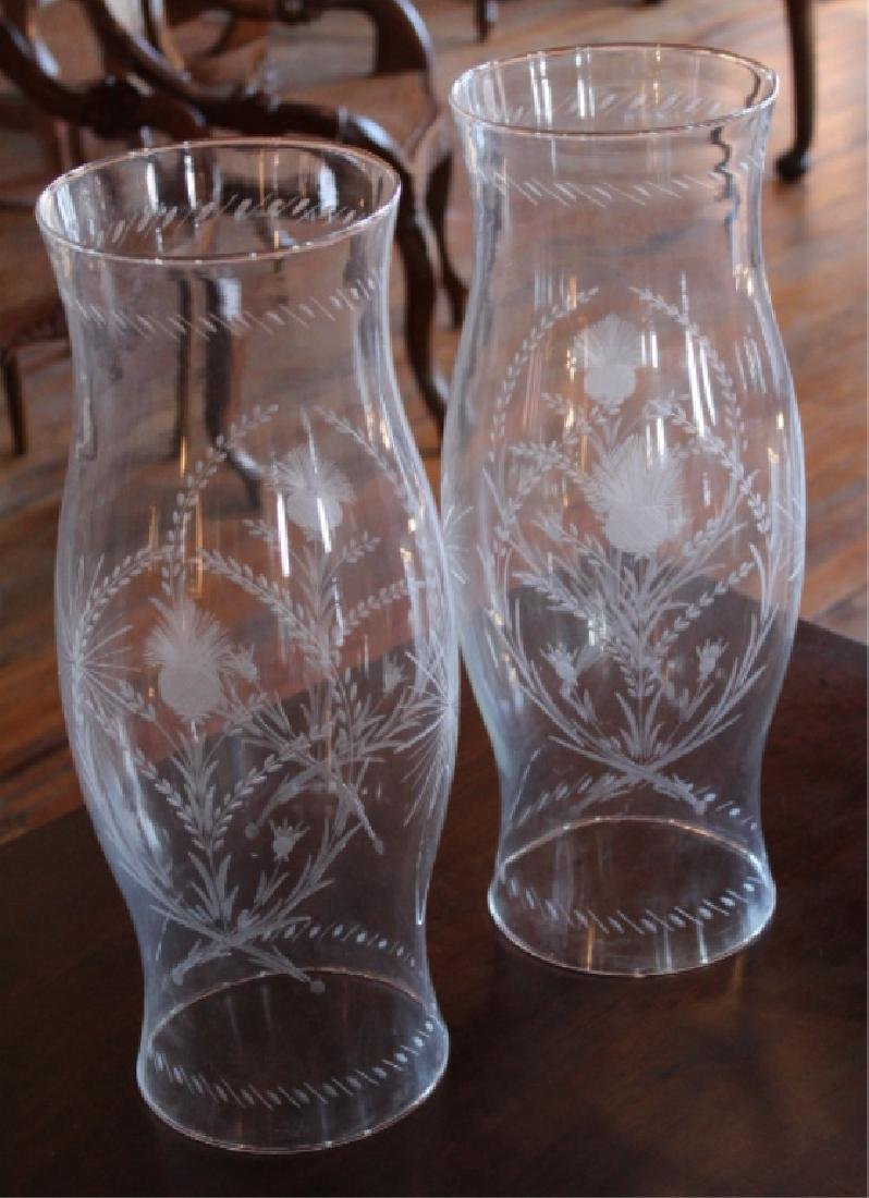 Pair Neoclassical Style Etched Hurricane Shades