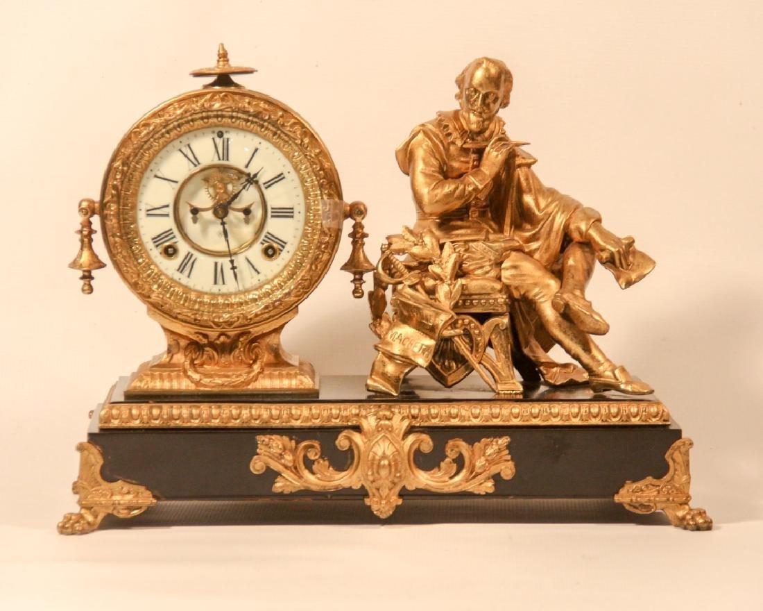 Ansonia Shakespeare Gilt Metal Mantel Clock