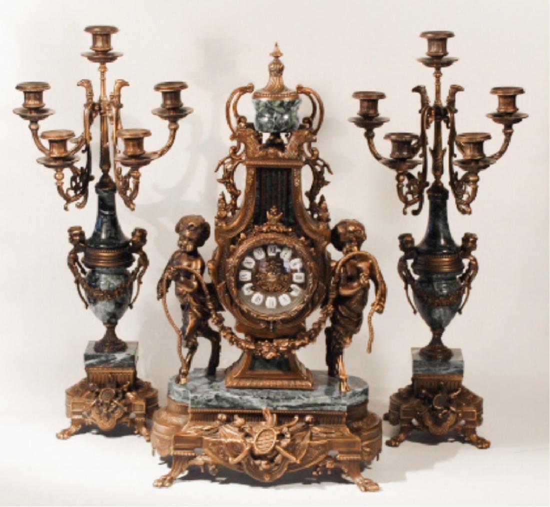 Franz Hermle Bronze & Green Marble Mantle Clock