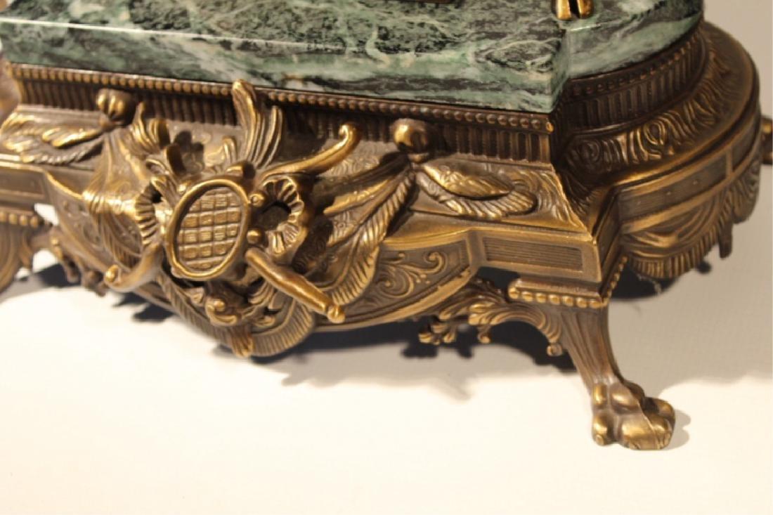 Franz Hermle Bronze & Green Marble Mantle Clock - 2