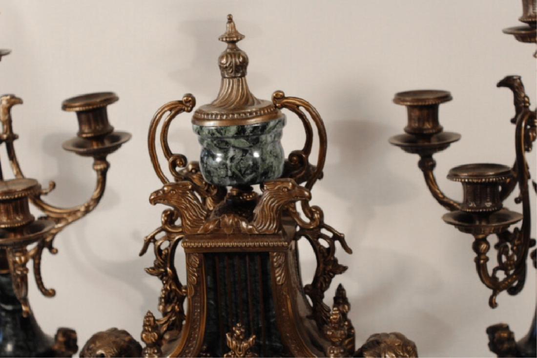 Franz Hermle Bronze & Green Marble Mantle Clock - 3