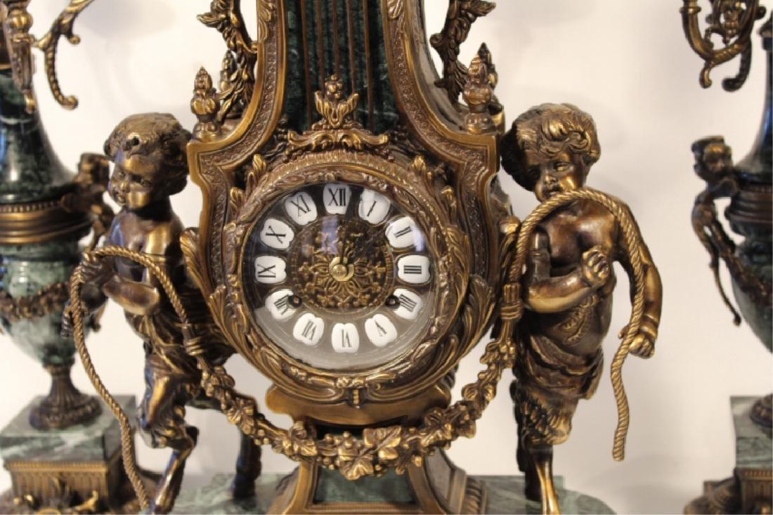 Franz Hermle Bronze & Green Marble Mantle Clock - 4