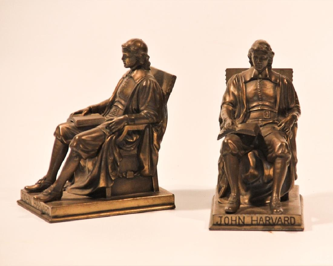 Pair Jennings Brothers Metal John Harvard Bookends