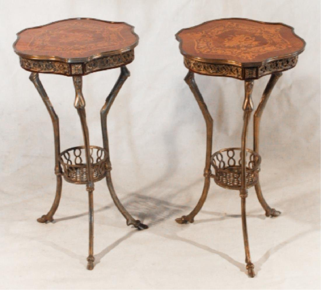 Pair Napoleonic Marquetry & Metal Side Tables