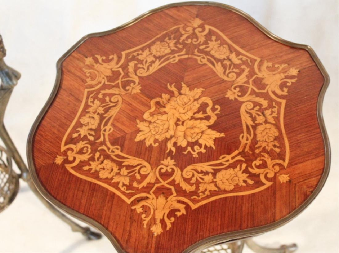 Pair Napoleonic Marquetry & Metal Side Tables - 4