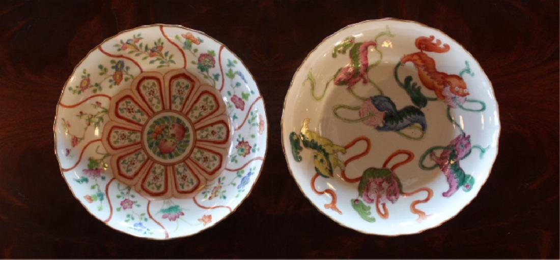 Two Antique Chinese Porcelain Famile Rose Dishes