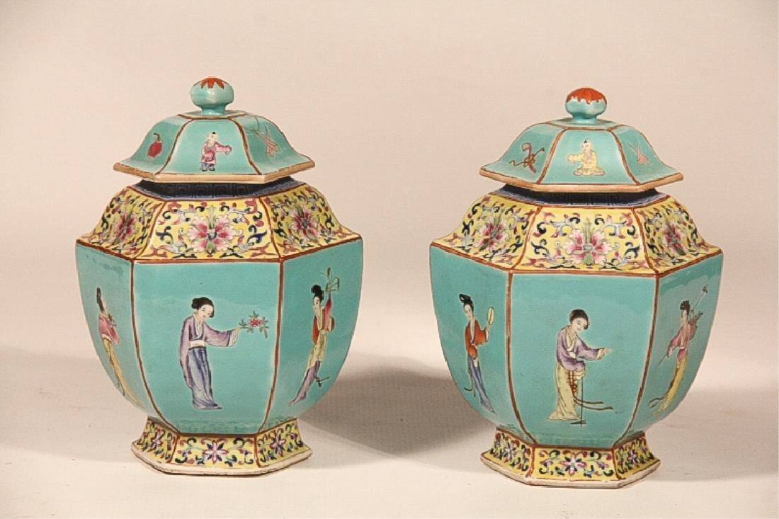 Pair Antique Republic Period Covered Porcelain Urn