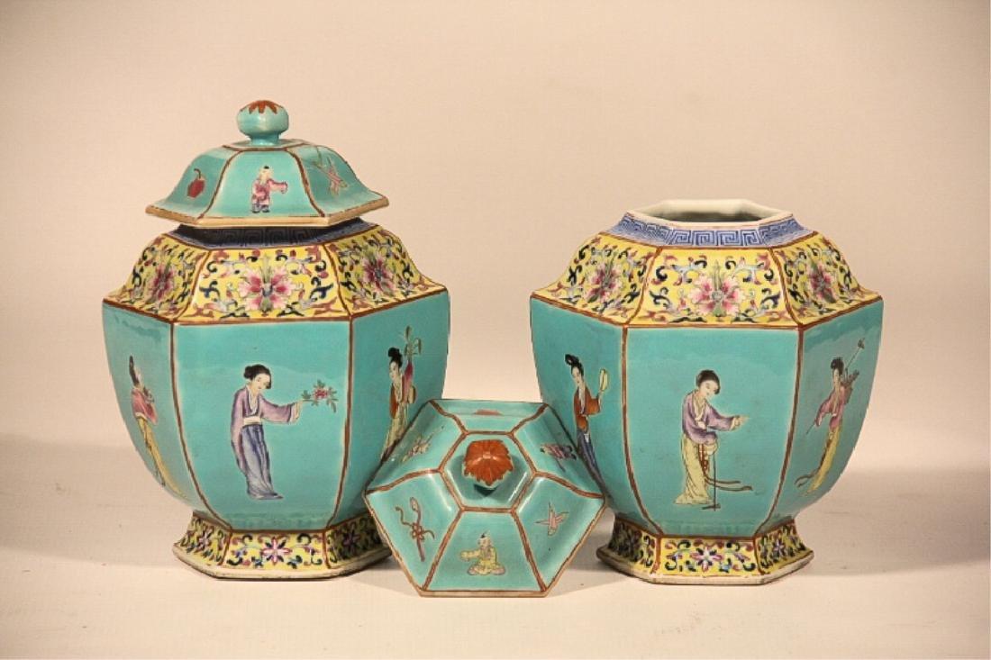 Pair Antique Republic Period Covered Porcelain Urn - 2