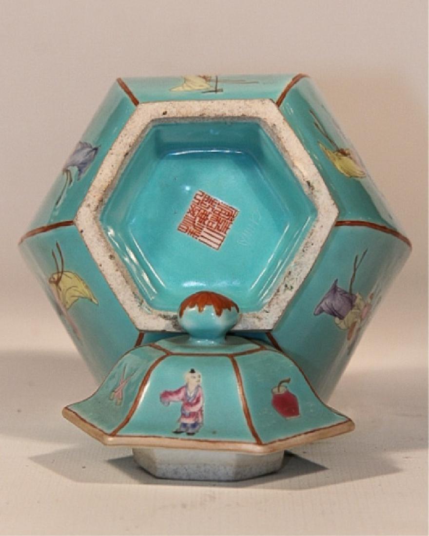 Pair Antique Republic Period Covered Porcelain Urn - 3