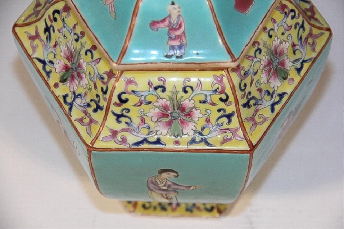 Pair Antique Republic Period Covered Porcelain Urn - 4