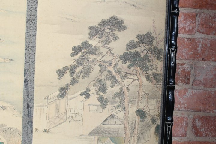 Vintage Chinese Art Deco Watercolor on Silk - 9