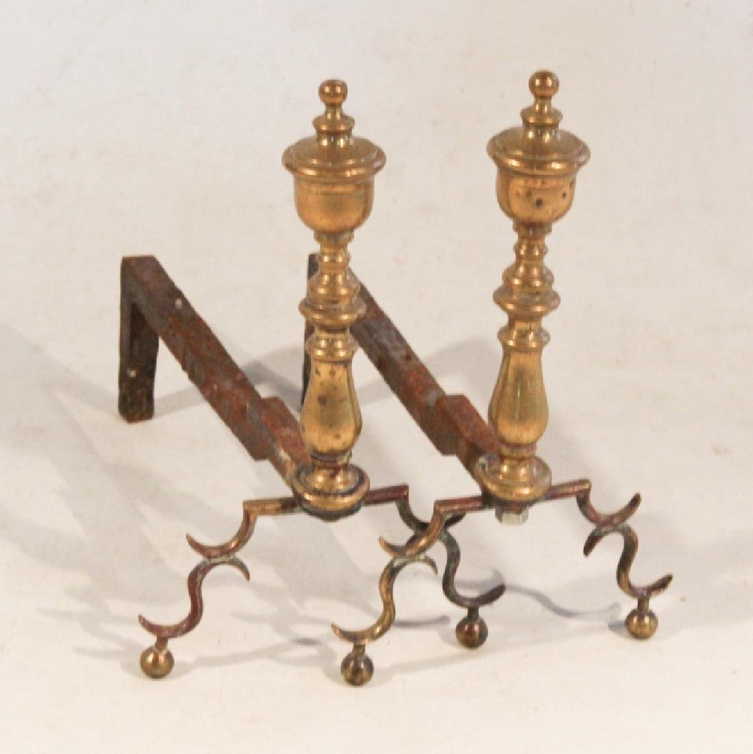 Pair Small Federal Style Brass Andirons