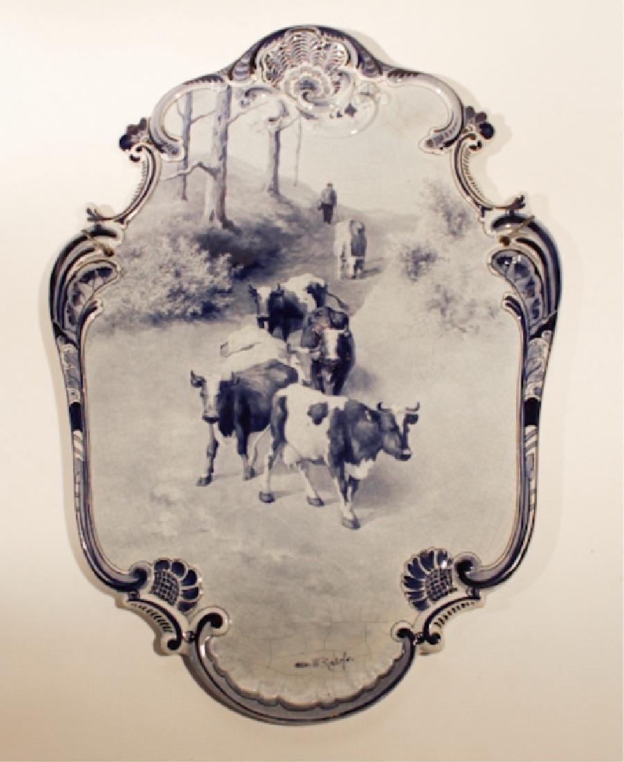 Vintage Delft Pottery Blue & White Wall Plaque