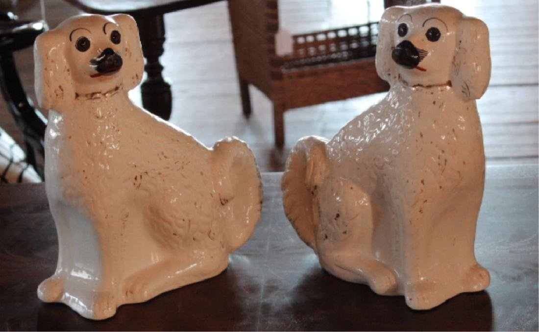 Pair British Staffordshire Pottery Spaniels