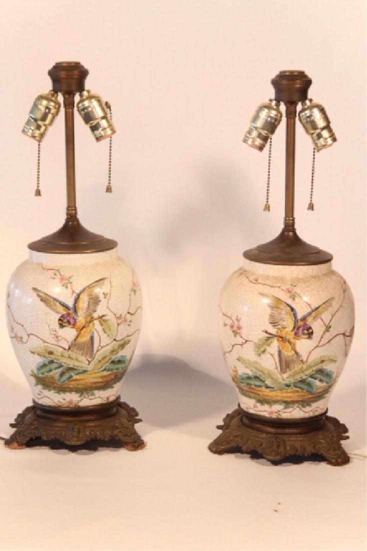 Pair British Aesthetic Movement Porcelain Lamps