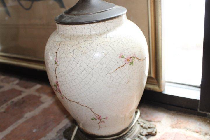 Pair British Aesthetic Movement Porcelain Lamps - 4