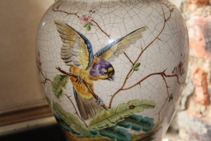 Pair British Aesthetic Movement Porcelain Lamps - 6