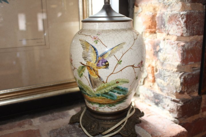 Pair British Aesthetic Movement Porcelain Lamps - 7