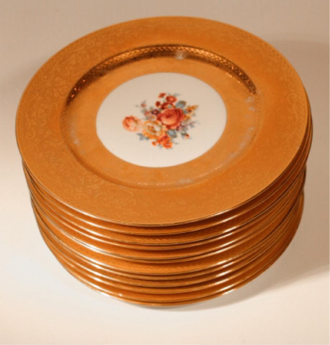 Twelve 22 Kt Gilt Royal Bavarian Dinner Plates