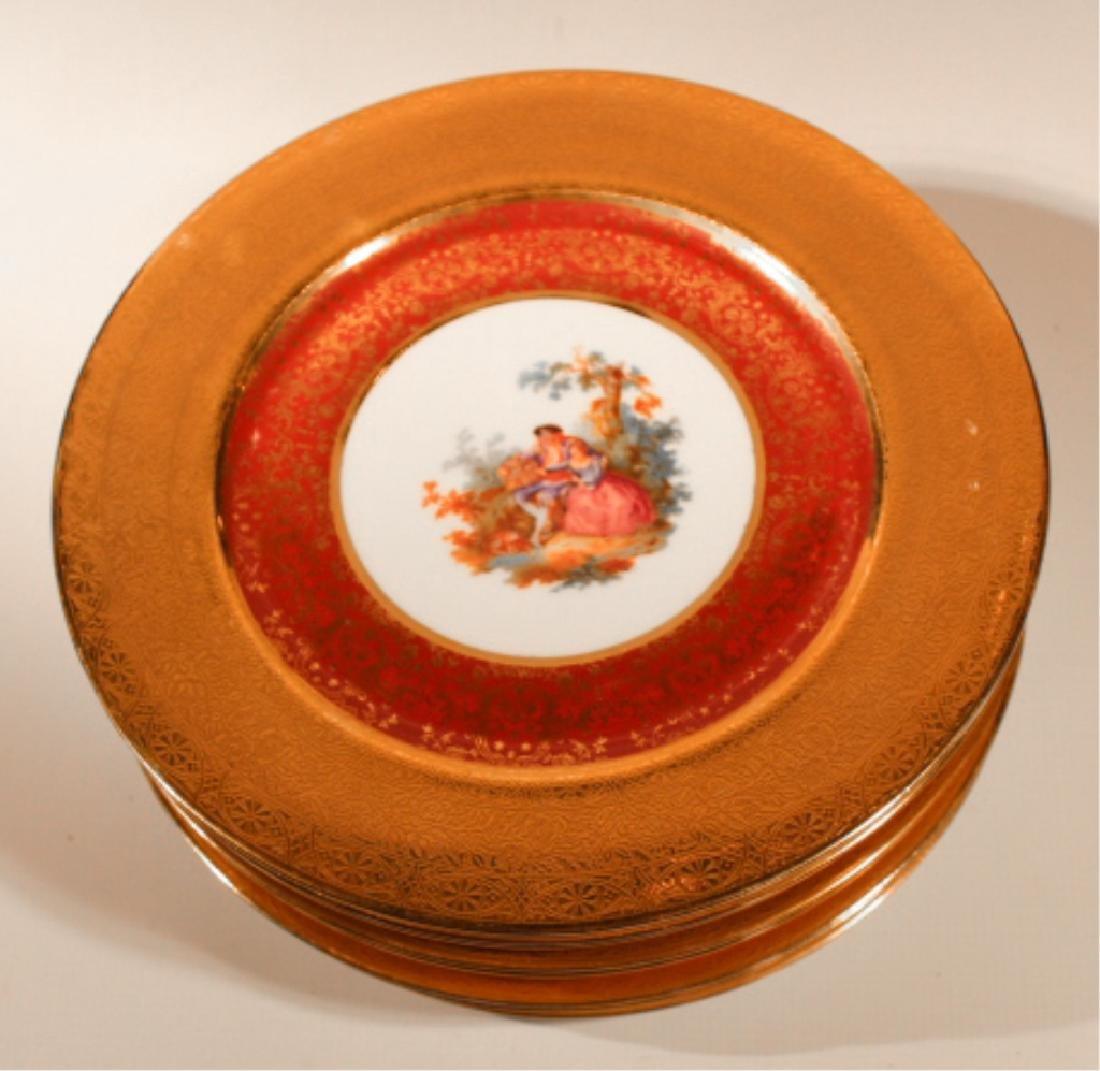 Nine Royal Crown Transfer Decorated Dinner Plates