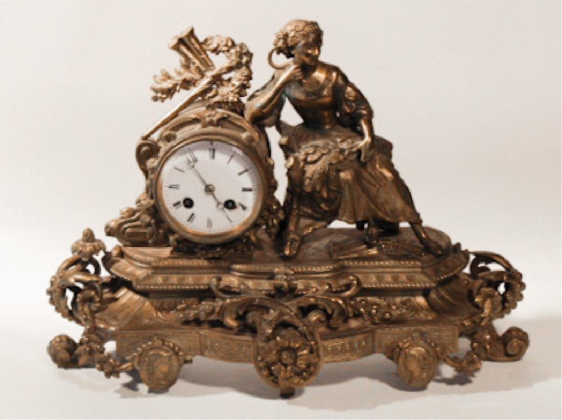 Renaissance Revival GiltMetal Figural Mantle Clock