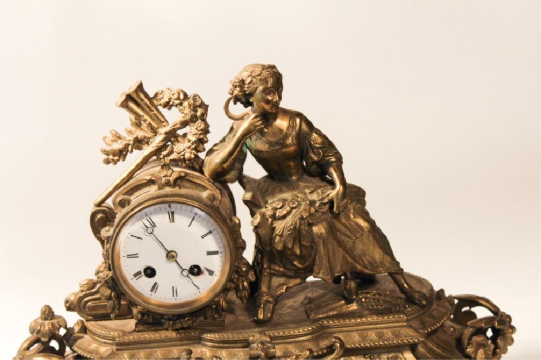 Renaissance Revival GiltMetal Figural Mantle Clock - 2