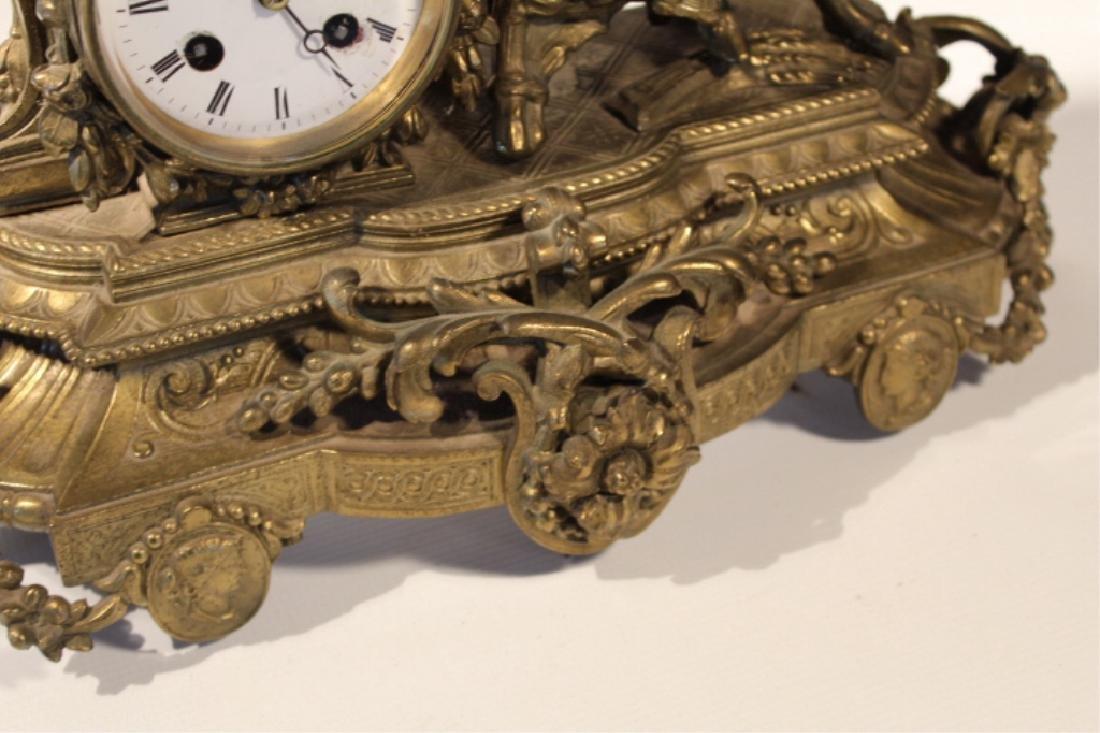 Renaissance Revival GiltMetal Figural Mantle Clock - 3