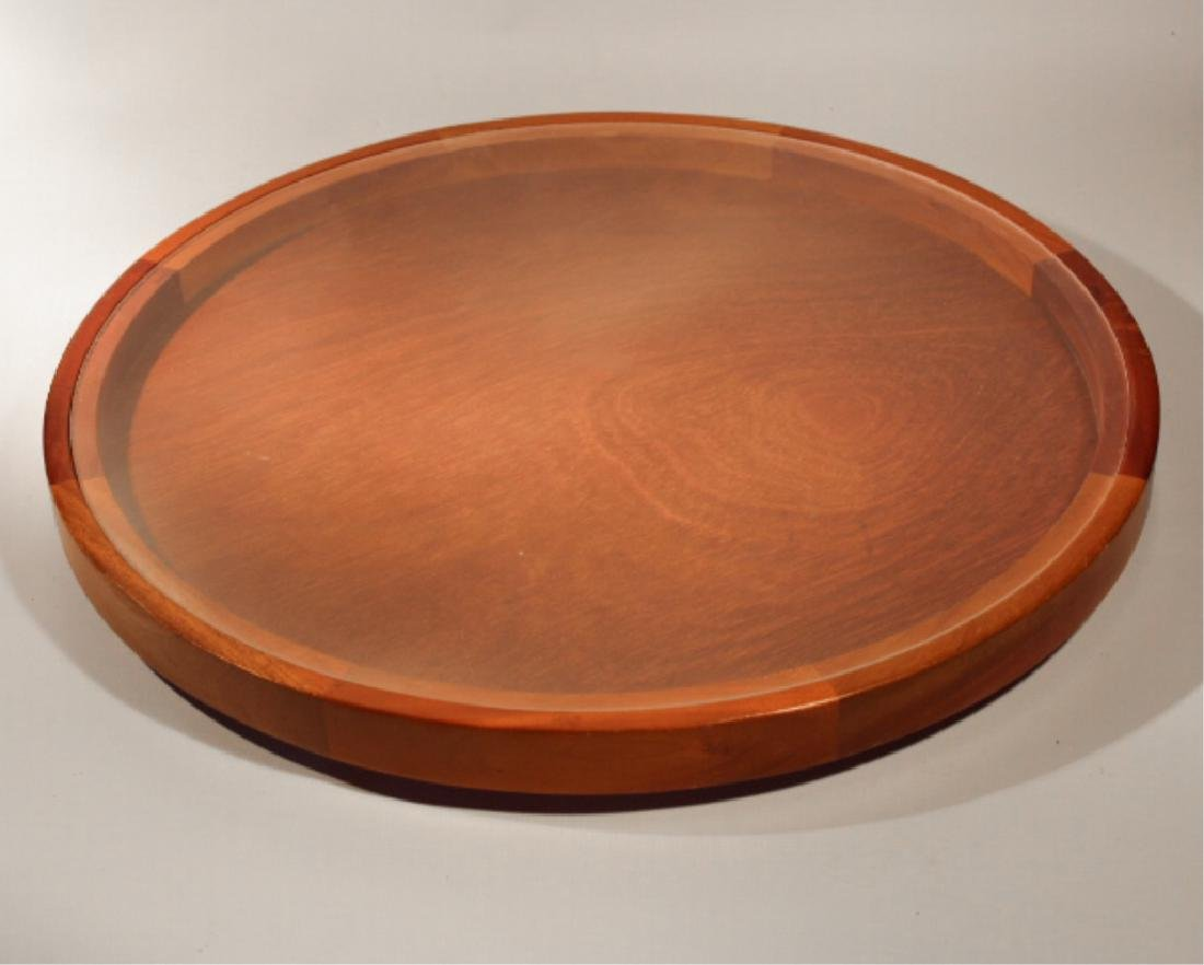 Danish Modern Teak Wood Glass Top Lazy Susan