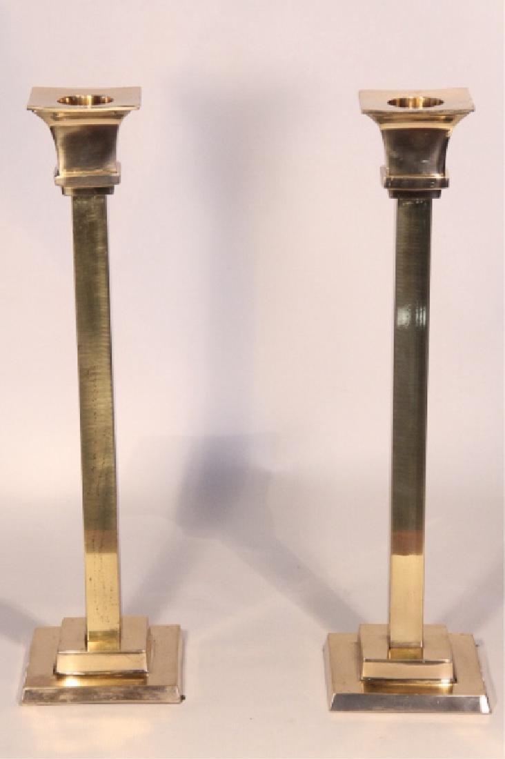 Striking Pair Mid Century Modern Brass Candlestick