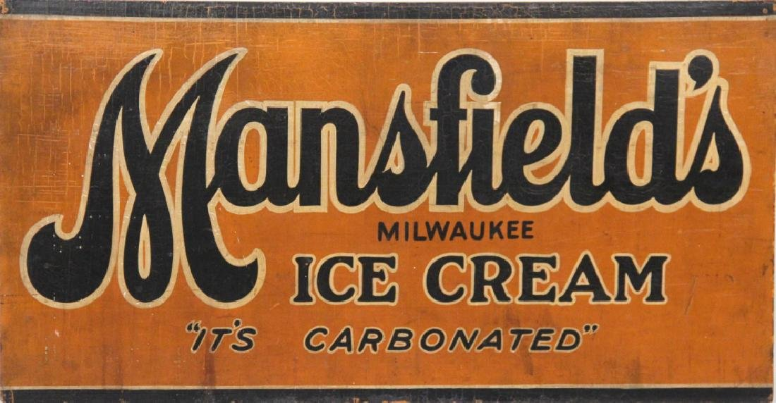 Vintage Ice Cream Hand Painted Advertising Sign