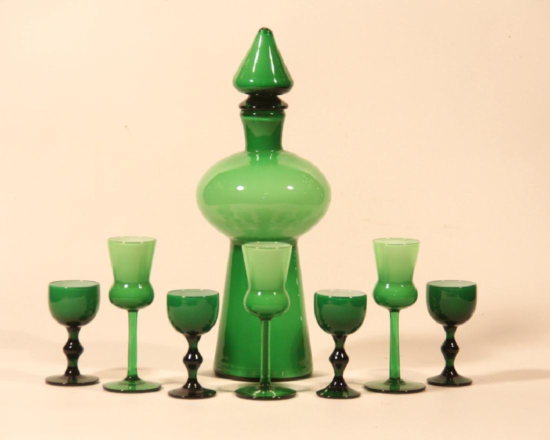 Vintage Blown Art Glass Decanter & Stems