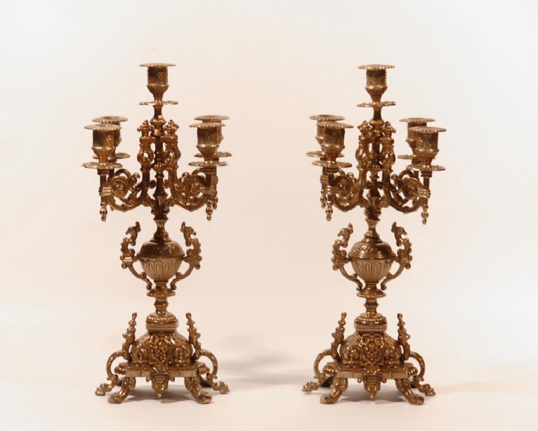 Pair Gilt Brass Five Light Candelabra