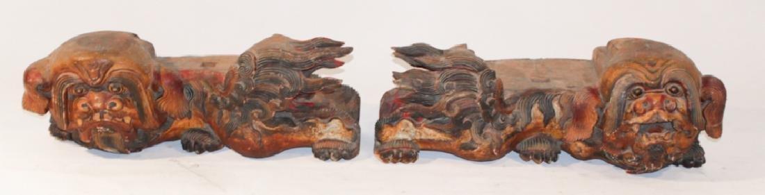 Pair Antique Oriental Temple Food Dog Capitals